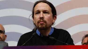 Podemos leader Pablo Iglesias, addresses supporters on the results of the general elections, in Madrid, Spain, 28 April 2019