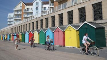 Cyclists near Boscombe beach