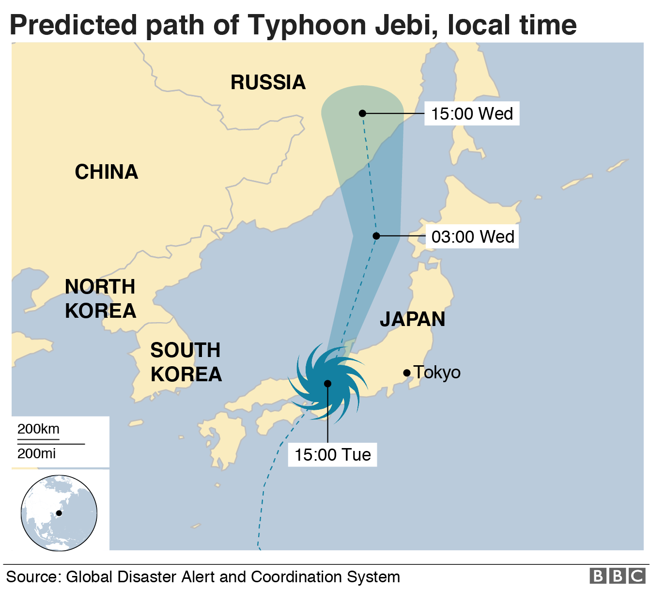 Mad of predicted path of typhoon