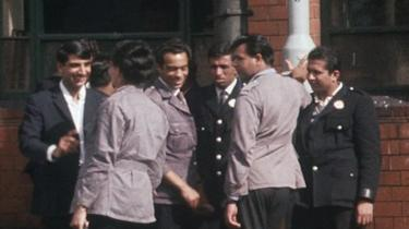 Bus drivers and conductors outside Wolverhampton bus depot in 1960s