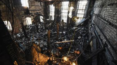 The ruined Mackintosh Library after the 2014 blaze
