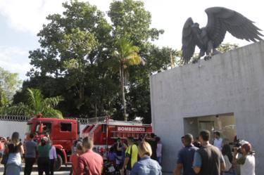 A fire truck is seen in front of the training centre of Rio's soccer club Flamengo after a deadly fire in Rio de Janeiro, Brazil February 8, 2019.