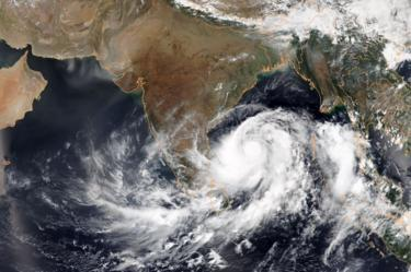 A satellite image via the National Oceanic and Atmospheric Administration shows Tropical Cyclone Fani intensifying in the Bay of Bengal