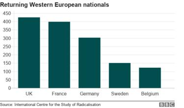 Bar char showing how many Western European nationals have returned to their home country