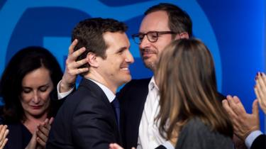 Party colleagues consoled Mr Casado as he reacted to the PP's worst ever result