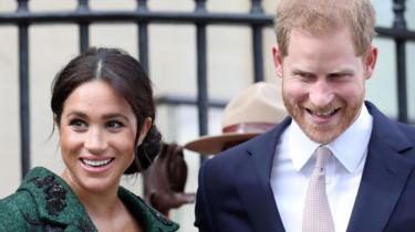 The Duke and Duchess of Sussex outside Canada House on 11 March 2019