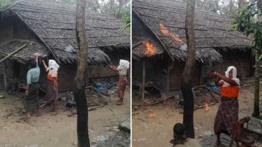 A photo comp showing three people at work calmly seeting a home alight, left, and right, a woman with a cloth on her head waves a knife around in a post as the fire catches