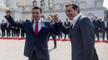 North Macedonian Prime Minister Zoran Zaev (L) welcomes his Greek counterpart Alexis Tsipras in Skopje on April 2, 2019
