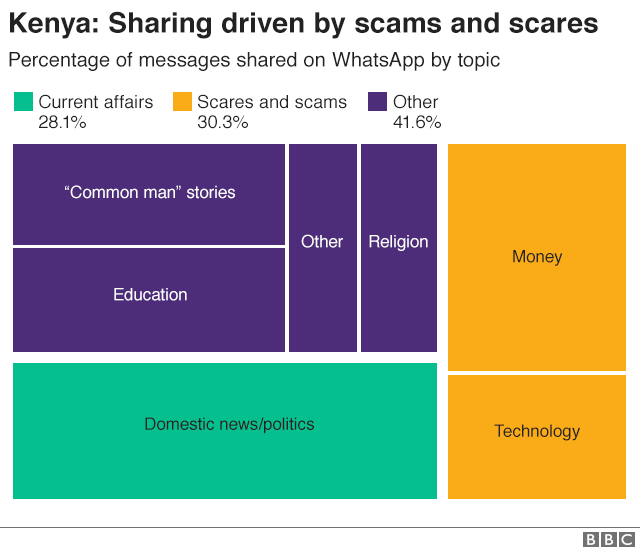 Graphic showing break of fake news stories by topic in Kenya