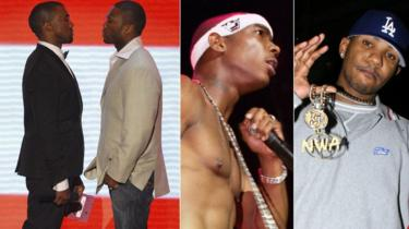 Kanye West (sur la pointe des pieds) face à 50 Cent aux VMAs 2007, Ja Rule, et The Game