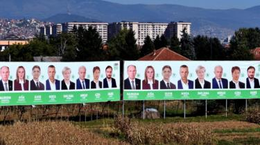 Billboards with political candidates in the Bosnian capital Sarajevo on 28 Sept 2018
