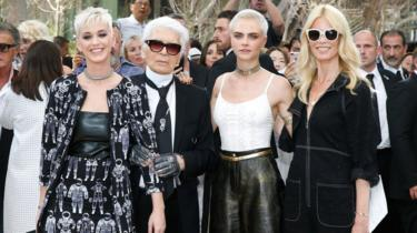 Karl Lagerfeld with Katy Perry, Cara Delevingne and Claudia Schiffer