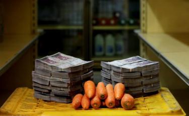 Cenouras ao lado de 3.000.000 bolívares
