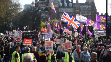 The March to Leave outside the House of Parliament in London