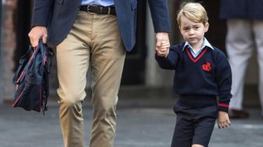 Príncipe William levando George ao primeiro dia de aula
