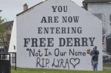 A message of condolence on the Free Derry mural in Londonderry