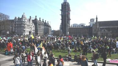 Demonstrators during a Extinction Rebellion protest in Parliament Square