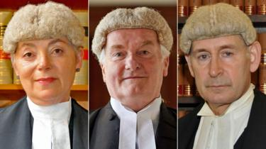 President of the Queen's Bench Division Dame Victoria Sharp, Lord Chief Justice Lord Burnett and Master of the Rolls Sir Terence Etherton (left to right)