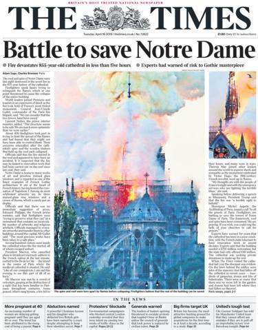 The Times front page 16 April 2019