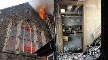 On the left, a fire engulfs Bethel Community Church. On the right, the prayer room and its furniture survived relatively unscathed.