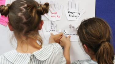 "Girls in a drought-affected town stick notes on a whiteboard. Notes read: ""Expressing feelings"" and ""Laugh and have fun"""