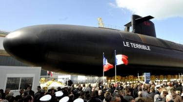 The Terrible, a new generation nuclear armed submarine, pictured during the inauguration of French President Nicolas Sarkozy in Cherbourg, France, 21 March 2008