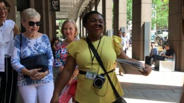 Damaris Obi leads a walking tour through historical places tied to New York City's role in slavery.