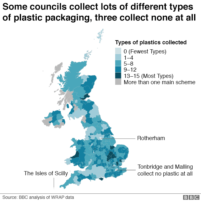 Different Councils collect different types of plastic packaging