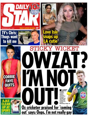 Daily Star front page - 01/05/19