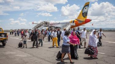 Fastjet aircraft on the tarmac, stationary - date and location unconfirmed. At March 2016 Shares in Fastjet dropped 30% after the African budget airline issued a profit warning.
