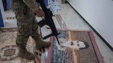A photo of Abdullah Ocalan is seen in a hospital corridor after Turkish Armed Forces and Free Syrian Army (FSA) took complete control of northwestern Syria's Afrin within the 'Operation Olive Branch' on March 20, 2018