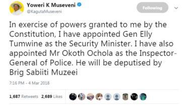 Museveni Twitter