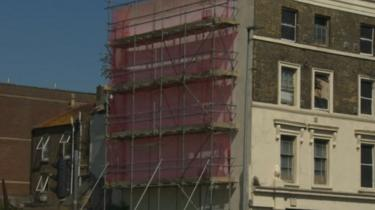 The building with scaffolding on