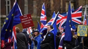 Anti-Brexit protests outside Parliament