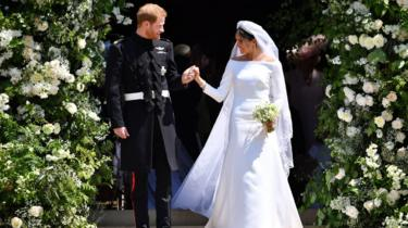 The Duke and Duchess of Sussex leaving the chapel