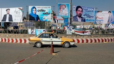 Election posters in Kabul on 28 September 2018