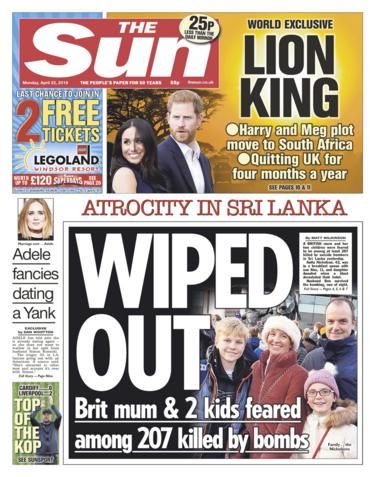 Sun front page 22/04/19