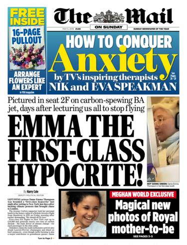 Front page of the Mail on Sunday