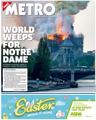 Metro front page on 16 April 2019