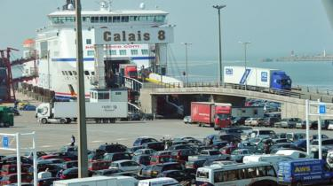 Cars queuing in Calais