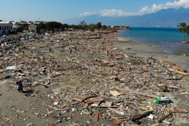 Debris litters the beach in Palu, Indonesia