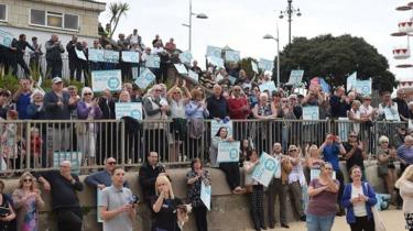 Brexit Party supporters in Clacton-Upon-Sea