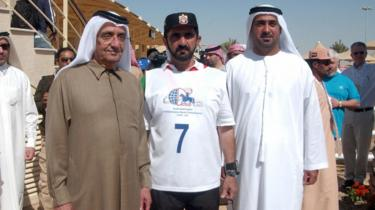 Sheikh Maktoum bin Rashid Al Maktoum (left) and Sheikh Mohammed bin Rashid Al Maktoum (centre)