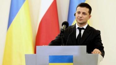 Perezida Volodymyr Zelensky wa Ukraine ari kuvuga ijambo