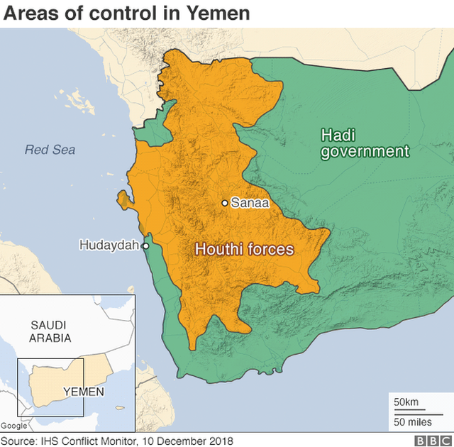 Map showing control in Yemen