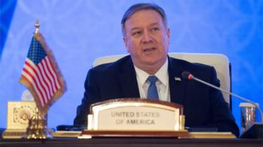 US Secretary of State Mike Pompeo at the Sheraton Grand in the Qatari capital, Doha
