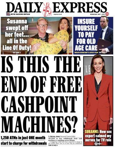 Daily Express front page - 01/05/19