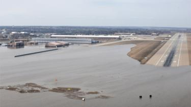 Offutt Air Force Base and the surrounding areas affected by flood waters are seen in this aerial photo taken in Nebraska, U.S., on March 16, 2019.