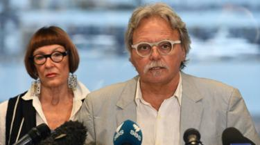 Justine Damond's parents speaking at a Sydney press conference in 2017