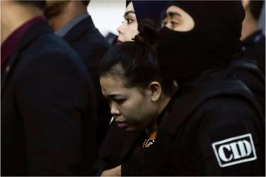 Siti Aisyah (C) of Indonesia - who is on trial for the assasination of Kim Jong-nam, the estranged half-brother of North Korea